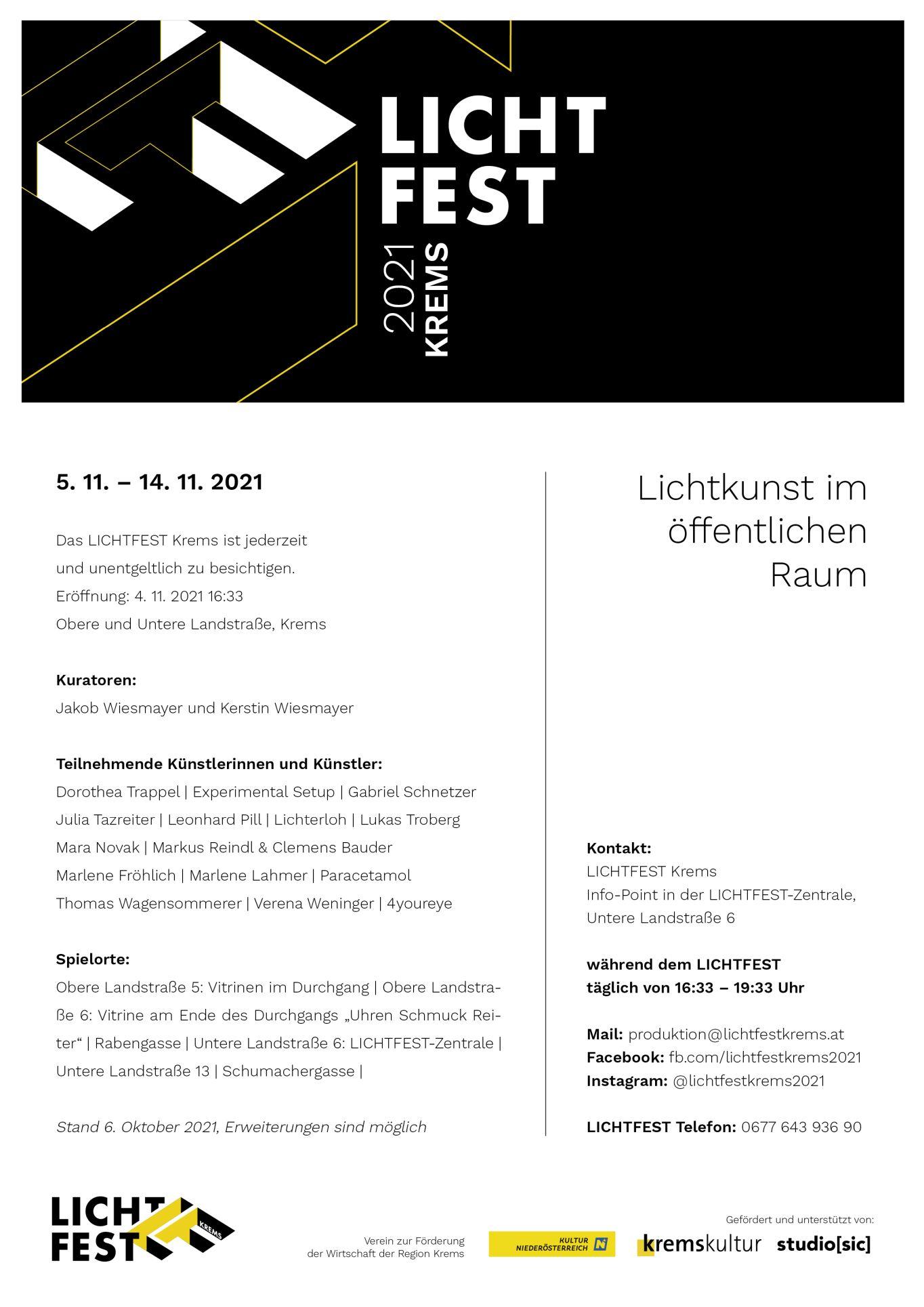 LICHTFEST Krems 2021 - Lichtkunst im öffentlichen Raum - Visit           fb.com/lichtfestkrems2021